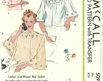 McCall 509 // Vintage 30s Sewing Pattern // Bed Jacket Lingerie // Size Small Bust 32 to 34