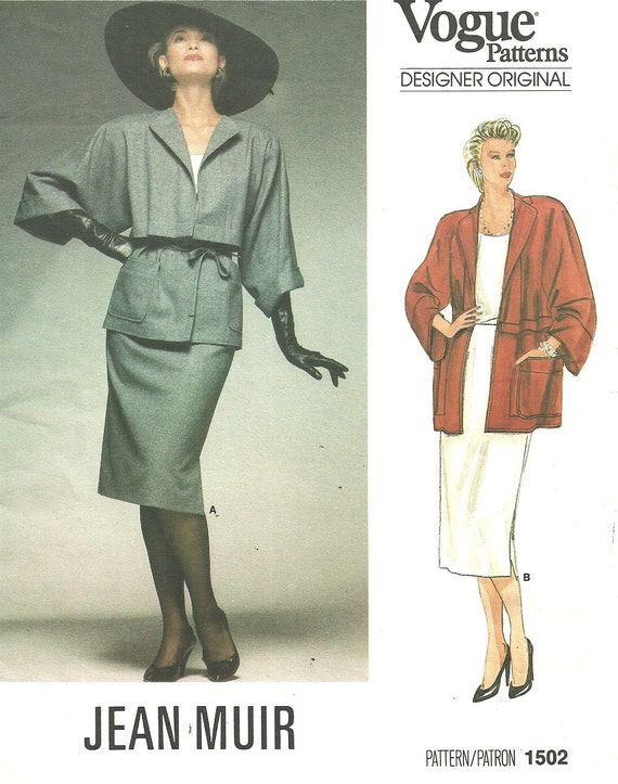 1980s Jean Muir skirt and jacket pattern Vogue 1502
