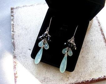 Blue gemstone statement earrings, chandelier earrings, chalcedony earrings, aqua black earrings, long earrings, chalcedony silver earrings
