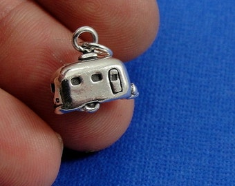 Tiny Camper RV Charm - Sterling Silver Airstream Camper Charm for Necklace or Bracelet