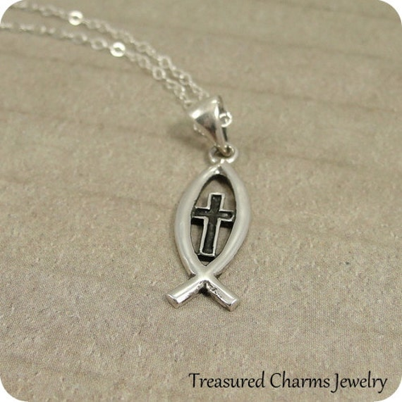 Christian fish necklace sterling silver fish cross symbol for Christian fish necklace