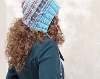 Women Pixie Hat, winter knit hat, Turquoise Hat, Pixie Hood, Elf Hat, Funky hat, wool hat, knit hat warm