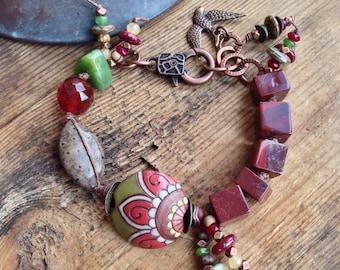 Nicely Nouveau Bracelet - Bird, Apple Jasper, Red, Green,  Green Jade - Earthy Chic Jewelry by YaY Jewelry