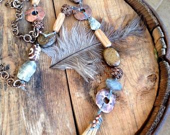 Cool Desert Necklace, Tribal Necklace, Bohemian Jewelry, Labradorite, Tied Jewelry by YaY Jewelry