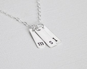 Petite Personalized Sterling Silver Three Tag Necklace, 3 Kids Initial Bars, Small Vertical 3 Initial Necklace, Lowercase