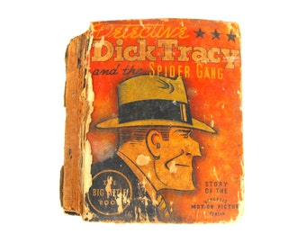 1937 Dick Tracy and the Spider Gang Big Little Book - Detective Art Deco Iconic Relic Film Noir Gadgetry Murder Mystery Wall Art Home Decor
