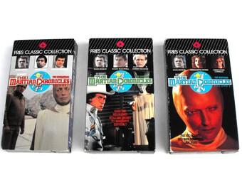 Ray Bradbury's Martian Chronicles Vintage VHS Tapes Set of 3 Retro 1989 Sci Fi Geekery Aliens Science Fiction Rock Hudson Bernadette Peters