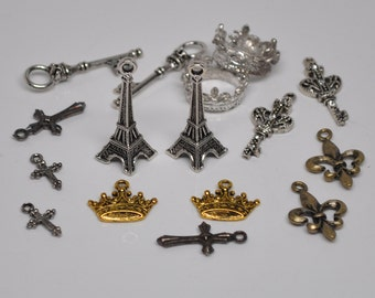 16 Pieces French Charms Fleur de lis Eiffel Tower Royal Crown Lot No 5