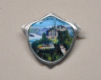 Antique Solid Silver Enamel Brooch Souvenir Zurich Switzerland
