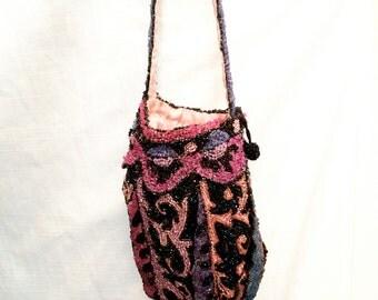 Vintage 1920's Seed Beaded Jewel Tone Bag Purse