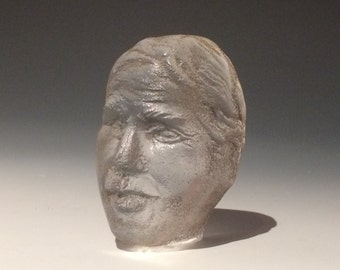 Sand Cast Glass Face Sculpture Head Portrait Bust of a Woman