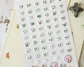 Puffy Sticker HAPPY Circles expression embossed deco cartoon stickers