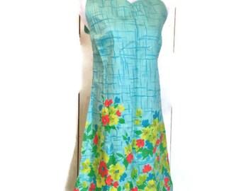 vintage 1950s Sun Dress, Turquoise and floral, cotton print dress, La rosa L xL