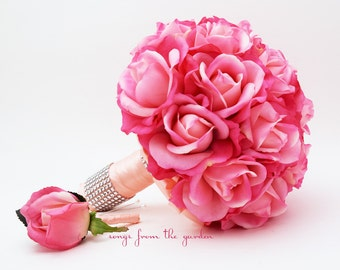 Bridal Bouquet Real Touch Roses Hot Pink Peach Wedding Bouquet Real Touch Silk Flower Wedding Choose Your Colors