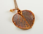 "Copper Dipped Eucalyptus Leaf on 36"" chain Necklace, Real Leaf Jewelry"