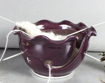 Ceramic Yarn Bowl, Knitting Bowl, Craft tool, diy Wheel thrown eggplant Marsala purple modern BlueRoomPottery