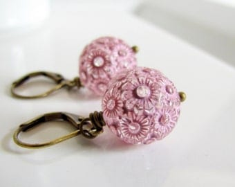 Light Pink Flower Earrings, Carved Flower Beads, Antiqued Brass, Drop Earrings, Simple Everyday Wear, Powder Pink Earrings