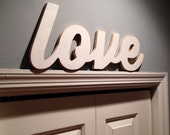 Unfinished wood love sign comes ready to paint or embellish comes woth hardware