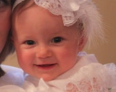 Rose and Pearl headband in White or Pink adorable infant headband ideal for blessings and formal occasions