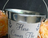 Here Comes The Bride Anchor Flower Girl Pail Bucket Nautical Beach Navy Here Comes My Mommy Flower Girl Bucket
