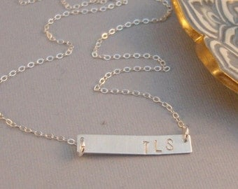 Silver Bar,Silver Necklace,Stamped,Mongram Necklace,Customized Necklace,Bar Necklace,Initial,Long Necklace,Layered Necklace,Long and Layered