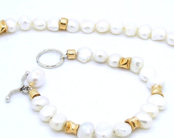 Bridal pearl bracelet with gold filled & Silver