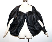 GIVENCHY COUTURE Vintage Black Sheer Silk Wrap Dotted Balloon Cape - Deadstock - AUTHENTIC -