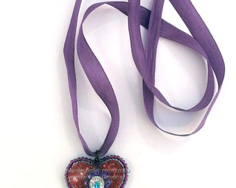 Heart Choker Necklace - Ready to Ship - Red and Purple