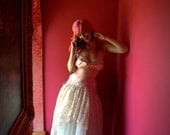 Custom Couture Formal Dress Drop Waist Lace and Embroidered Silk Pink and Ecru Tulle Princess Bridal Wedding Ball Gown