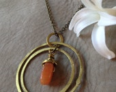 Brass and Carnelian Orbit Necklace // healing stones, boho, gypsy necklace