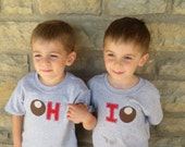 "TWIN Buckeye ""OH-IO"" Twin set, bodysuits for twins, or great way to celebrate a 2nd birth, or Siblings"