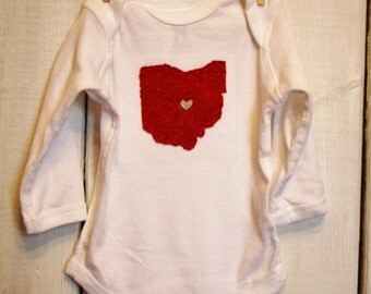 GLITTER OHIO Love, State of Ohio bodysuit with heart, great baby shower gift, father's day gift for new dad