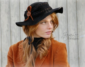 Floppy Hippie Hat / Black Felt Hat / Rustic Bohemian Fashion