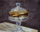 Thumbprint Compote Dish with Lid --Vintage Thumbprint Dish with Gold Flash Trim Bowl -- Kings Crown Home Decor  - Indiana Glass 70s