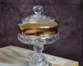 Candy Dish with Lid/Thumbprint/Indiana Glass/Gold Trim/Compote Dish/Pedestal Candy Dish/Covered Candy Dish/70s