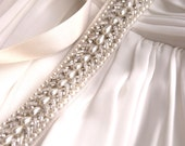 Champagne Beaded Bridal Sash - Thin and Elegant with seed beads and pearls 1930s style