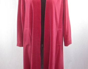 STUNNING Vintage 1950's Pink Velvet Swing Coat w/Rhinestone Buckle & Sharkskin Lining - M