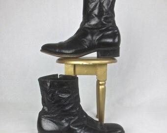 Vintage 1970's MOD Man's Black Patent Leather Ankle Boots - Florsheim Imperial - sz 8 D