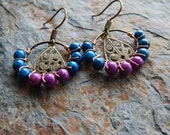 Wire wrapped hoop earrings, small beaded hoops, purple and turquoise, bohemian jewelry, indie style, lightweight, colorful earrings