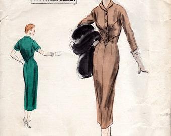 1950s Vogue Couturier Design 777 - Vintage Pattern Slim Dress with Shaped Bodice - B32
