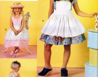 Girls Dress with Apron Full Skirt Pattern - Vogue for Me 7069 - Size 5 6 6x UNCUT OOP