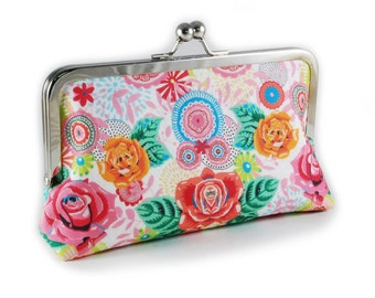 Colourful floral clutch purse