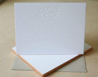Letterpress Edge Painted Notecards - Hello Notes