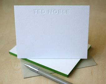 Letterpress Edge Painted Notecards - Theodore Custom Stationery
