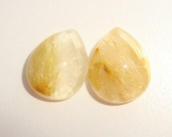 AAA Golden Rutilated Quartz Smooth Pear Cabochon, 10x8mm, 2 pcs - j16-15