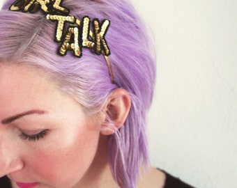 Gold Metal Headband / Fascinator with Gold Sequins - GIRL TALK