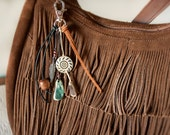 Bohemian Zipper Pull - Southwestern Key Fob Clip - Feather, Wooden Beads, Leather, Suede, Sea Tumbled Stones - Ready to Ship