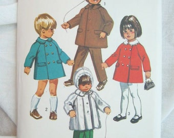 Simplicity 9042 Toddlers Double Breasted Coat or Jacket Pattern Vintage Sewing Size 1