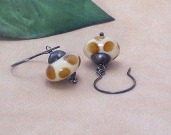 Earrings Amber and Ivory Lampwork Animal Print Sterling Silver Dangle Earrings