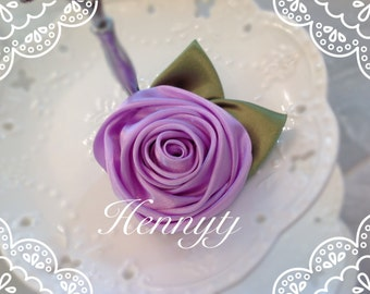 Set of 3 -  50mm Beautiful Rolled Satin Rose Rosettes with Forest Green Satin Leaves attached - LILAC / LAVeNDER Fabric flowers
